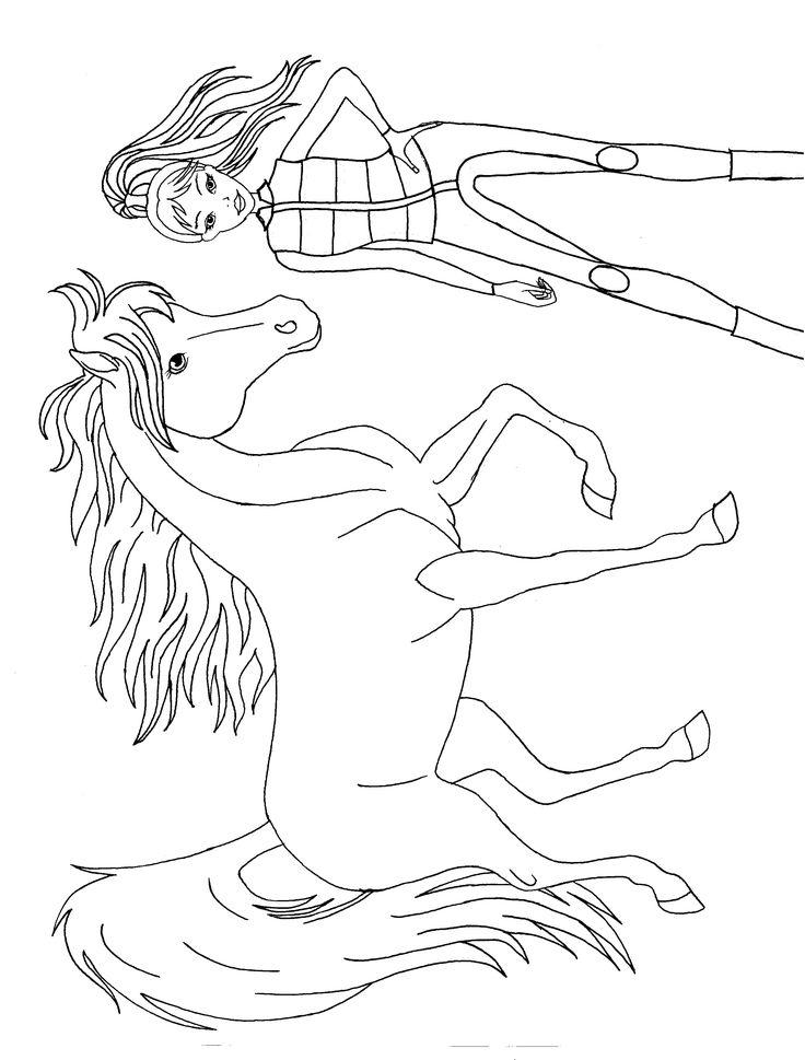 reiterin mit pferd | ausmalen, ausmalbilder, reiten