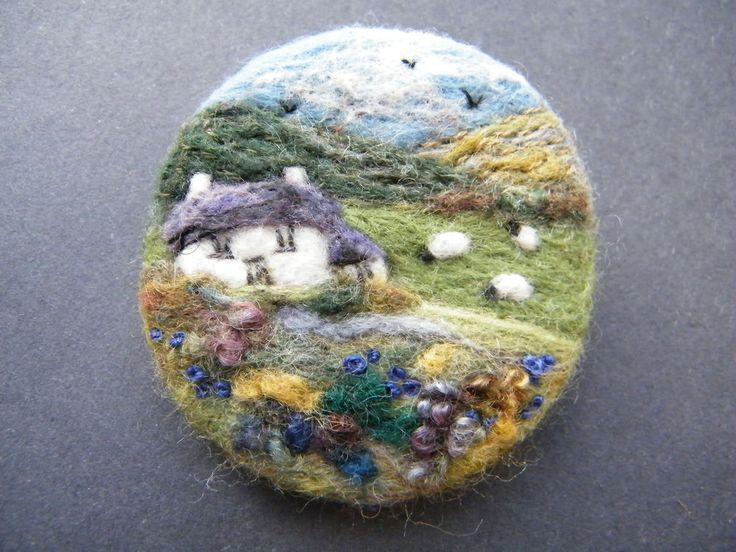 Hand Made Needle Felted Brooch/Gift   Mountain View Cottage   by Tracey Dunn