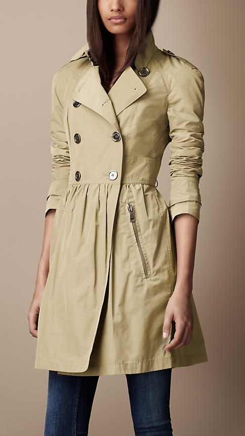 Mid-length lightweight gathered skirt trench coat in sisal by Burberry; would like it in red