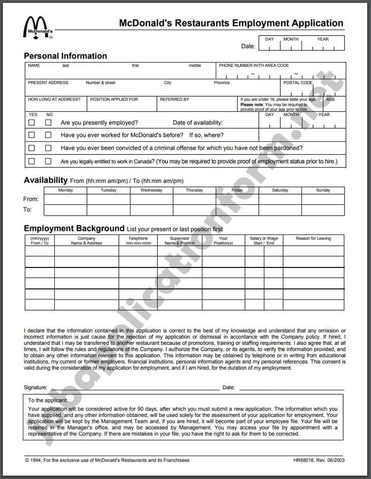 Mcdonald S Application Form Pdf Mcdonalds Application Printable Job Applications Job Application