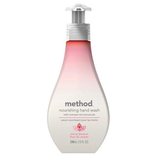 • Non-toxic and biodegradable<br>• Natural, plant-based formula<br>• Scented with essential oils<br>• Forms a creamy lather<br>• Cruelty free<br><br>Method Cherry Blossom Nourishing Hand Wash cleans and moisturizes your hands with nutrient-rich botanicals, like seaweed and kelp extracts. This Method hand soap offers the subtly sweet scent of cherry blossoms.