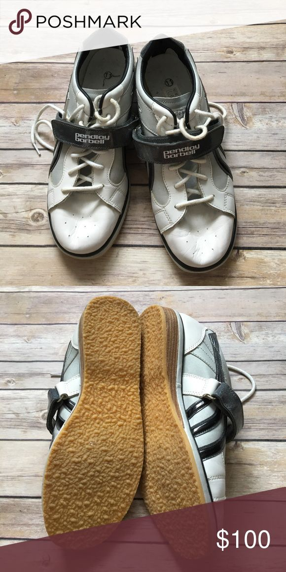 """Pendlay barbell lifting shoes Pendlay barbell lifting shoes. White and grey. Worn once. Slight scuff on right heel that's only noticeable if you pick the shoes up. 1"""" Heel height. Pendlay Barbell Shoes Athletic Shoes"""