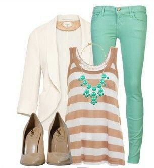 Colored jeans? Yes, please! (P.s. Tan, creme, and mint together? I can dig it!)
