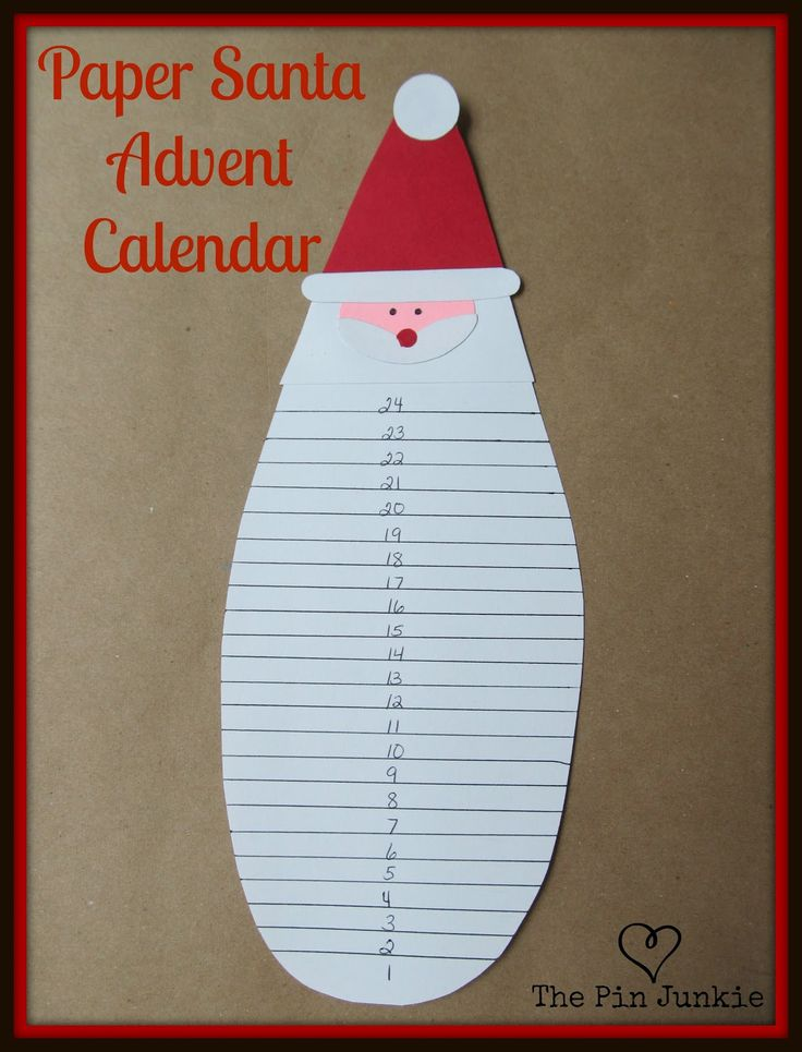 Paper Santa Christmas Advent Calendar with template