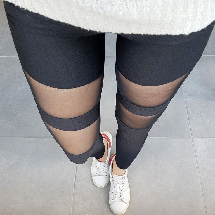 Premium lycra black mesh stripes leggings