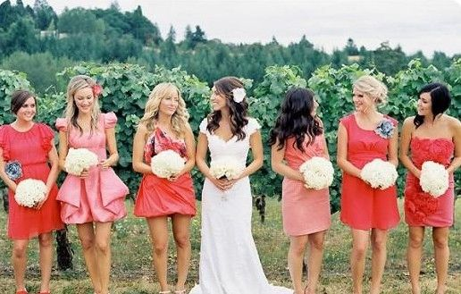 Love the bright spring colors for bridesmaids dresses and that each dress does not match!