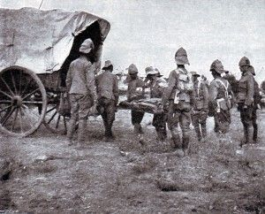 British troops removing the dead from the battlefield after the Battle of Belmont on 23rd November 1899