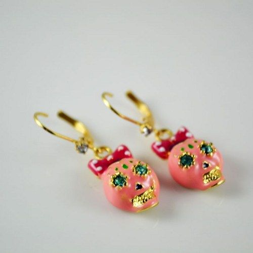 Pink skulls with bow  betsy ins earring pendants diy bling phone deco  | chriszcoolstuff - Craft Supplies on ArtFire