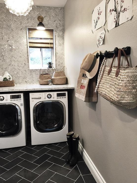 Laundry Room with Marble Herringbone Backsplash Tiles, Transitional, Laundry Room, Sherwin Williams Wordly Gray