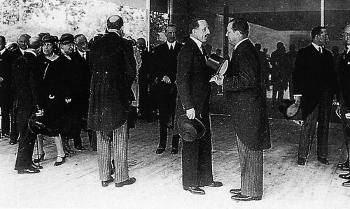 Mies Van Der Rohe And King Alfonso XIII At The Opening Of The German Pavilion (Barcelona Pavilion) At The International Exhibition, Barcelona, Spain, 1929
