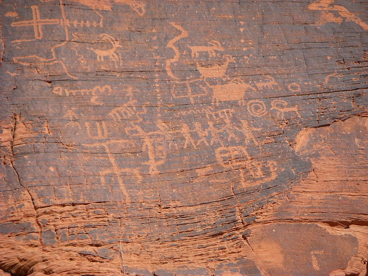 Petroglyphs on a wall at Nevada's dramatic Valley of Fire State Park--just an hour from Las Vegas!