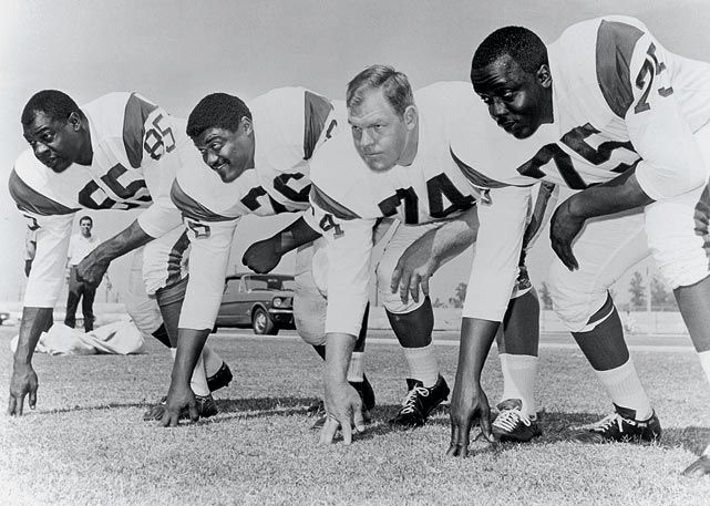 """The Fearsome Foursome"" ~ Los Angeles Rams ~ (85) Lamar Lundy, (78) Rosey Grier, (74) Merlin Olson, (75) Deacon Jones"