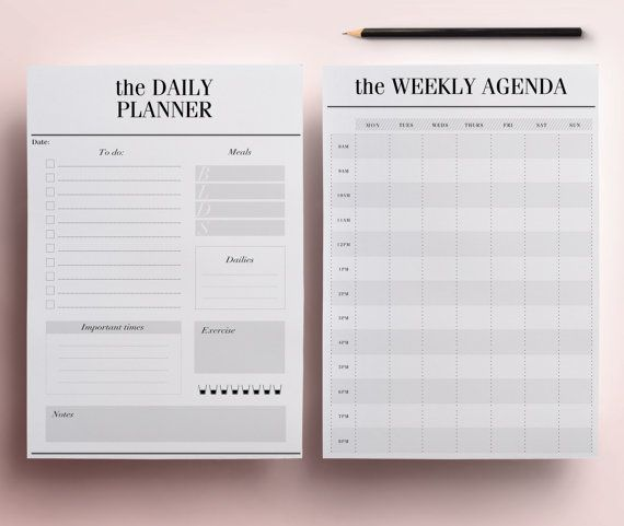 Minimal Planner A4 Agenda Inserts - 12 Printable Planners: Blank Calendar PDF, Weekly Schedule, Daily To Do List, DIY Planner, Black & White