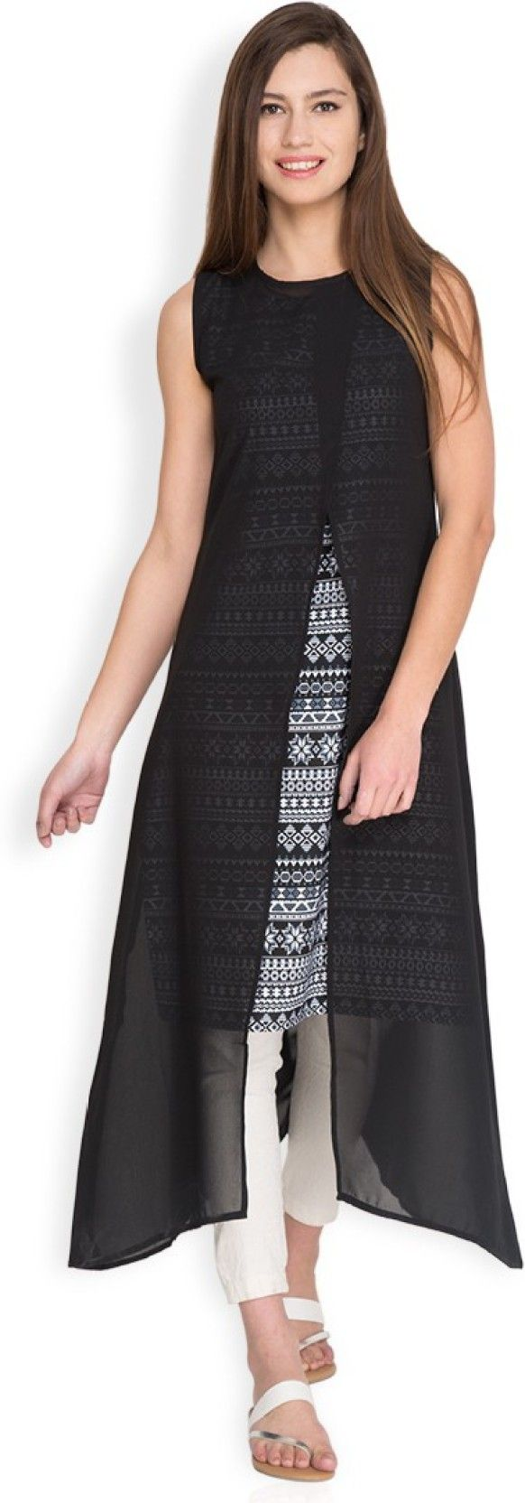 Vishudh Festive & Party Printed Women's Kurti  (Black, White) can be yours for just Rs. 539