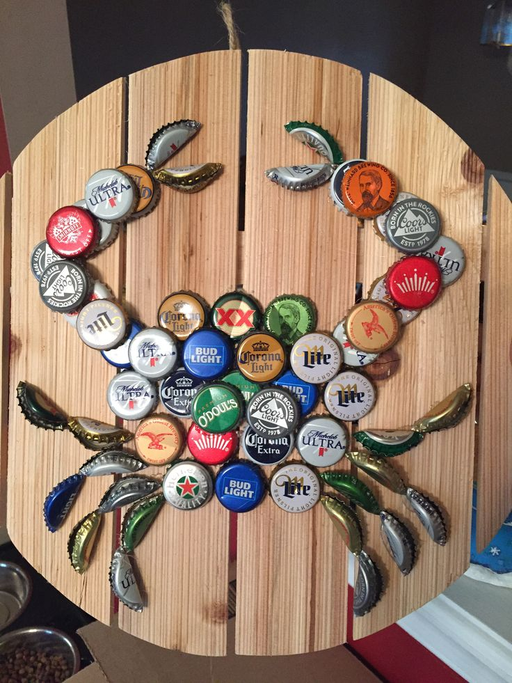 Bottle Cap Crab on Wood Pallet https://www.etsy.com/shop/CapArtAndDesign?ref=hdr_shop_menu