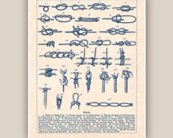 Noeuds marins imprimé noeuds marin, nautique, affiche de noeuds marins, club de voile, centres de voile, impressions de bord de mer, marin décoration murale, art nautique, 11 x 14