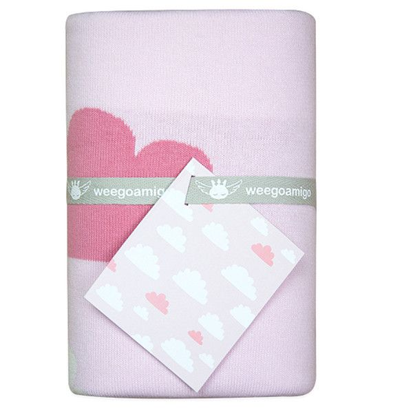 Designed in Australia, this soft and snuggly double-layered, 100% cotton knit blanket has a reversible design – it's like two blankets for the price of one!  Durable cotton makes this blanket very functional, hard wearing and machine washable. It's super versatile and makes a perfect travel companion for stylish bubs.   The Sky High Design in soft pinks and white co-ordinates well with any other theme.  Size 95 x 80cm