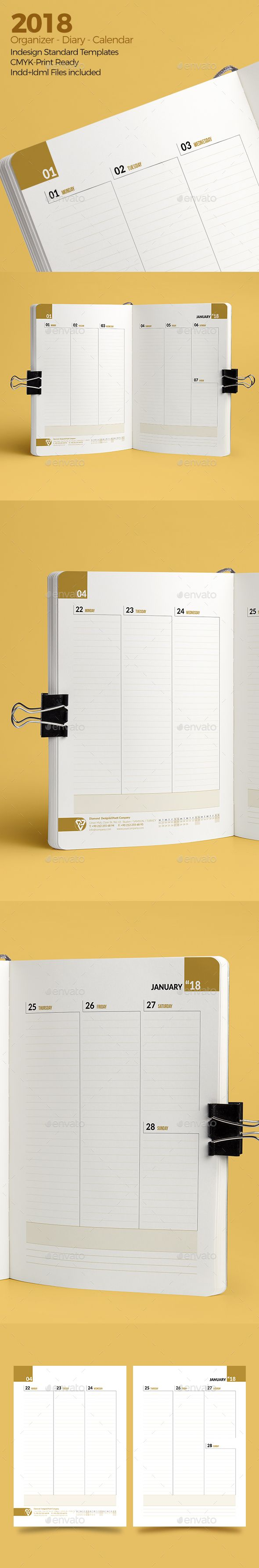 #Weekly Diary Planner 2018 v3 - #Calendars #Stationery