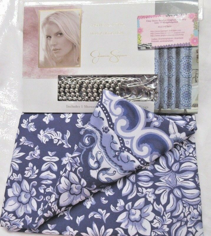 Details About Jessica Simpson Shower Curtain Silver Rings Navy