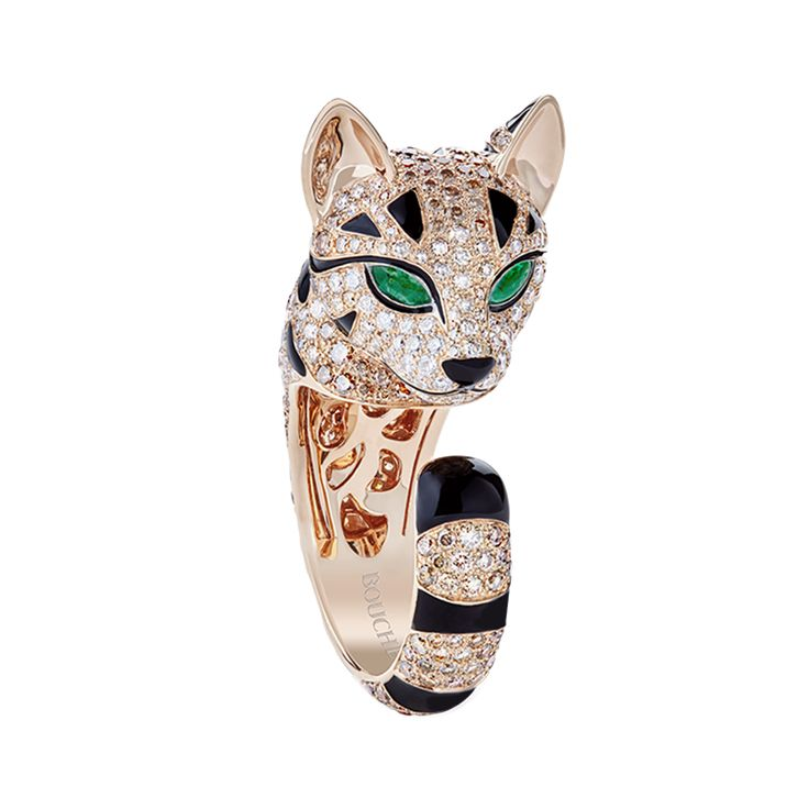Bague Fuzzy, le Chat Léopard Bague pavée d'émeraudes, de diamants blancs et champagne, sur or rose