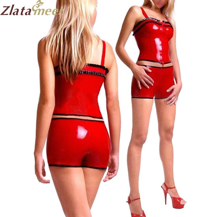 Women Latex Shirt and Shorts Set Sexy Red Sleeveless Rubber Shirt and Latex Shorts Set Plus Size Adult Costume LC110