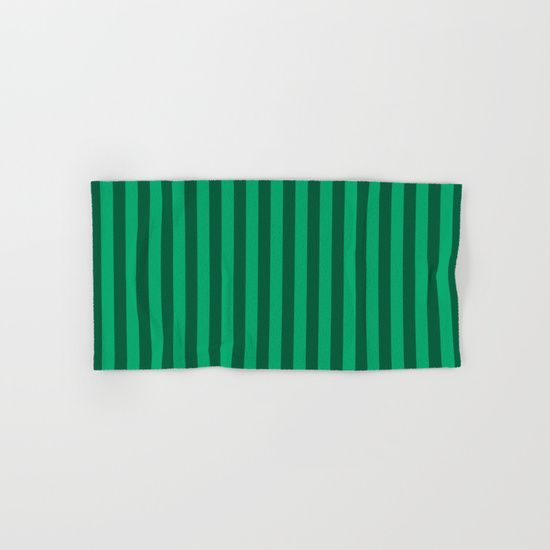Jade Green Stripes Pattern Hand & Bath Towel
