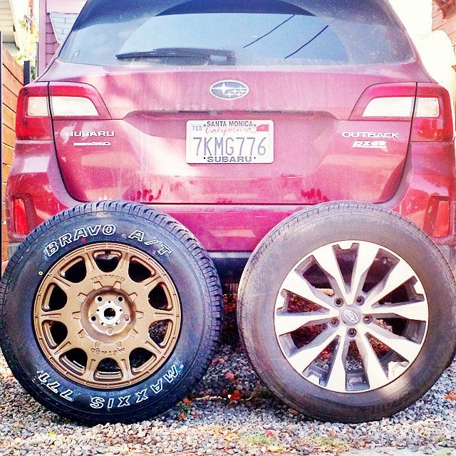 """The #wildoutback is getting some much needed upgrades. @methodracewheels are 17"""" for better tire selection and the @maxxistires Bravo 771 All Terrains add traction and puncture resistance. #subaru"""