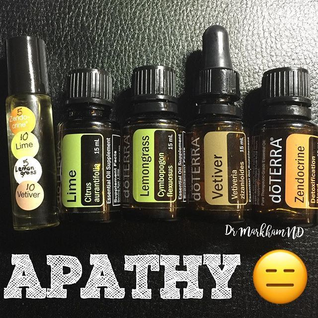 Straight outta the Emotions and Essential Oils book:  Apathy is a lack of interest, concern, feeling, and emotion.  Depressing, isn't it!? These are the four oils the book says to use to turn apathy into empathy:  Lime-is the oil of zest for life.  Lime revitalizes the heart.  Lemongrass-a powerful energy cleanser, it kicks out bad mojo and feelings of blah Vetiver-is the oil of centering and descent. It connects us to what we think and feel as it grounds us.  Zendocrine-is the Oil of…