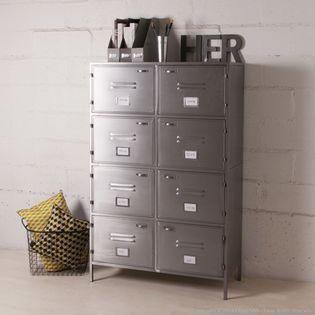 Armoire métallique grise avec 8 casiers style indus de la ...