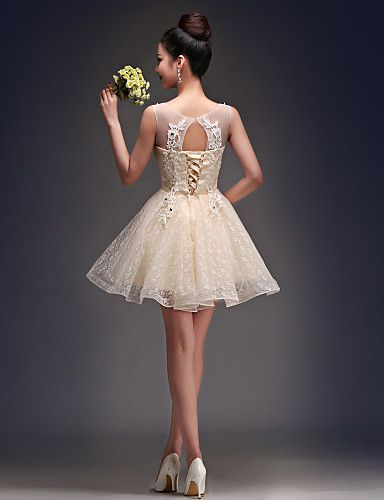 Homecoming Cocktail Party Dress - Champagne A-line Scoop Short/Mini Satin/Tulle – CAD $ 69.49