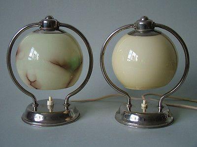 2x lampe nachttisch bauhaus art deco ra ikora karl wiedmann wmf lamp glas light pinterest. Black Bedroom Furniture Sets. Home Design Ideas