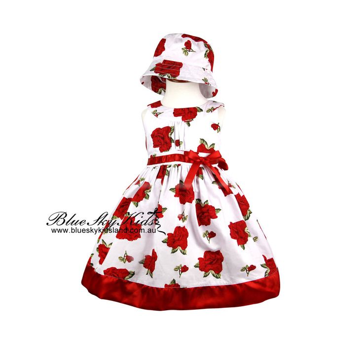 NEW Baby Girls Cotton Dress size 0/3m-6Y Flower with Satin Hem in Red and Purple
