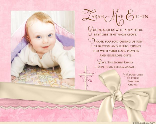 Soft Ivory Baby Baptism Thank You Card - Newborn Girl's
