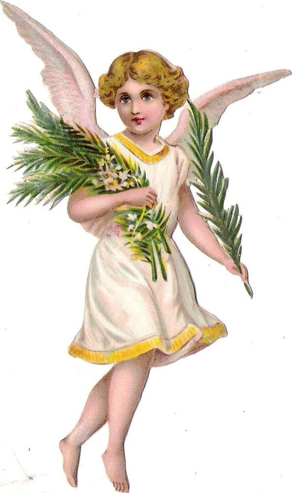 Oblaten Glanzbild scrap diecut chromo Engel 13,5 cm  angel ange cherub Zweig: