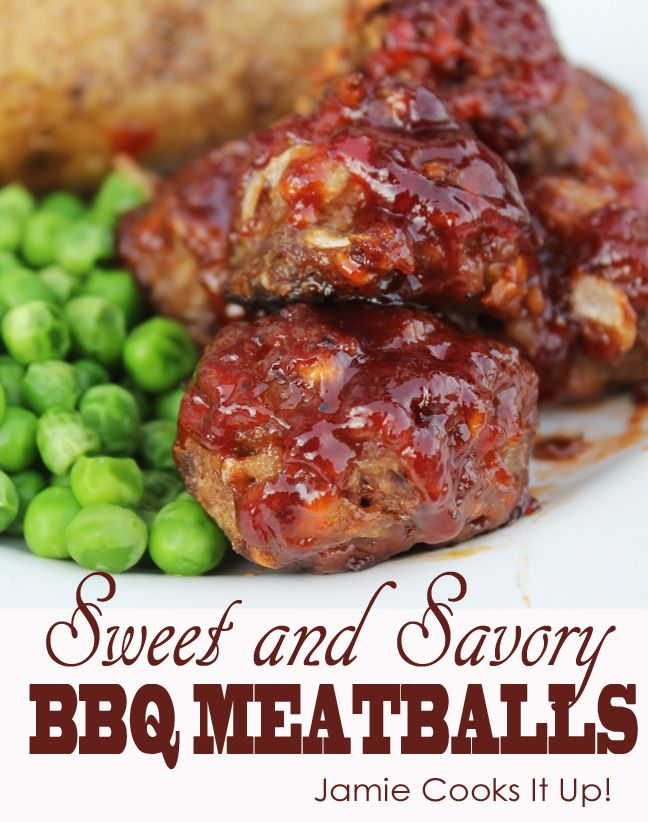 Sweet and Savory BBQ Meatballs from Jamie Cooks It Up ...