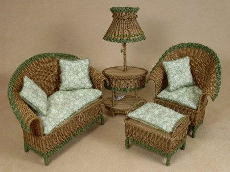 Uncle Ciggieu0027s Miniatures, Handcrafted Dollhouse Miniature Wicker Furniture