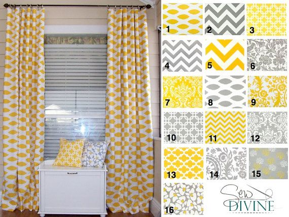 yellow and grey curtain panels by on etsy