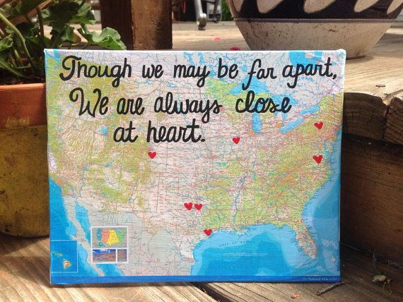 Though be may be far apart, we are always close at heart. Perfect gift for a family member or friend who is moving away, or someone who already