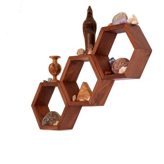 Charming Wood Shelves   Wall Shelving   Geometric Hexagon Shelves   Modern Eco  Friendly Home Decor   Set Of 3 Custom Shelves