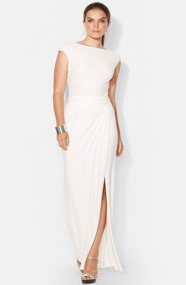 Free shipping and returns on Lauren Ralph Lauren Sequin Jersey Gown at Nordstrom.com. Tonal sequins add beautiful, subtle shimmer to an elegant stretch-jersey gown styled with sweet cap sleeves and a gathered waist that releases into an eye-catching front slit.