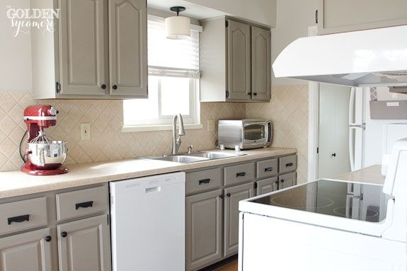 Chalk Painted Cabinets In French Linen With White