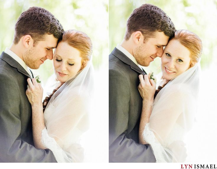 Romantic portrait of the bride and groom under a willow tree on a bright sunny day in Listowel, Ontario. Kitchener Waterloo wedding photographer.