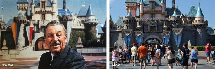 Serie de fotos antiguas y actuales del parque temático de Disney