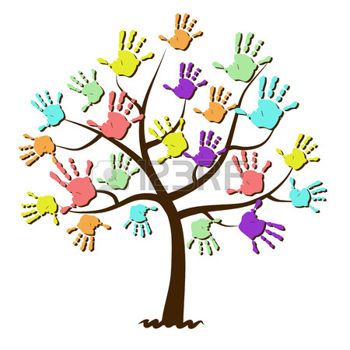handabdruck: Kinder-Handabdrücke in Baum vereint Illustration