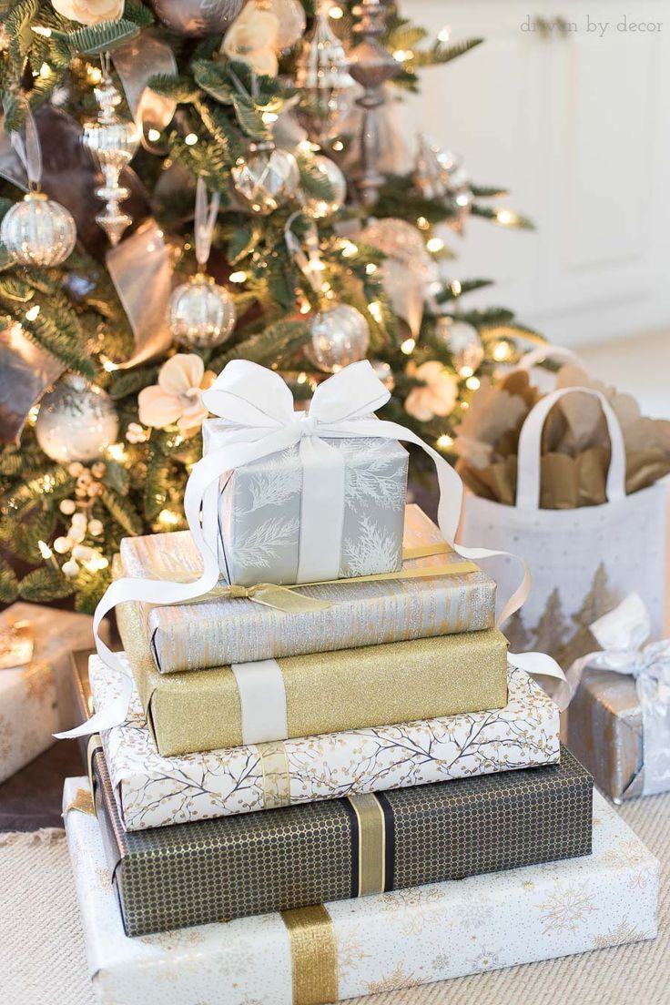 10 Christmas Present Wrapping Ideas To Take Your Presents To The Next Level Driven By Decor Gold Christmas Decorations White Christmas Decor Christmas Present Wrap