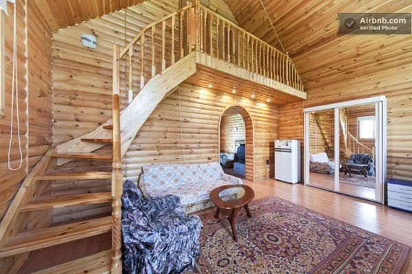 Small Russian Log Cabin...stairs to loft Log cabin