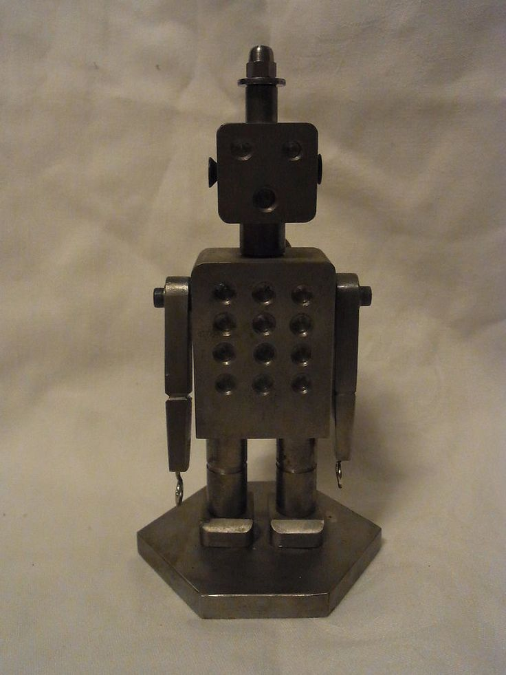 Mid Century 70´s Hand Made German Iron Robot Bookend #BY1