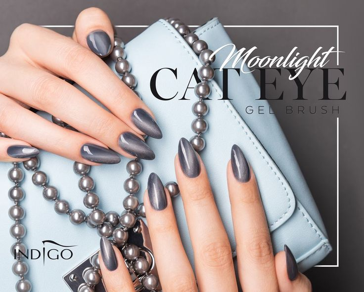 Gel Brush Cat Eye Moonlight by Kasia Wojtczak Indigo young Team #nails #nail #nailsart #indigo #indigonails #greynails #gelbrush #springnails #summernails #silvernails #cateye #effectnails