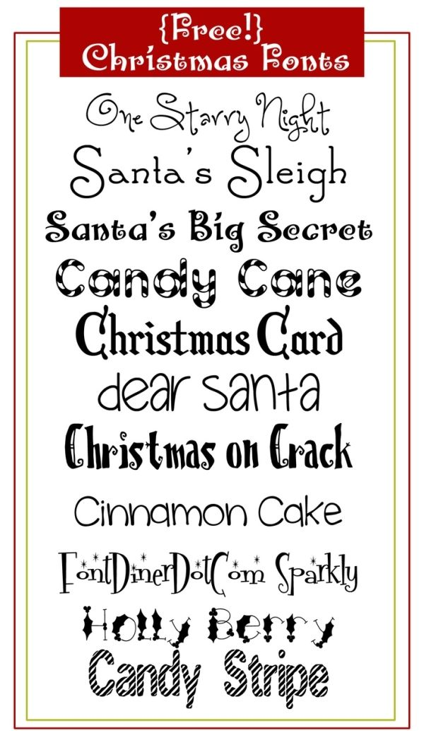 FREE Christmas FONTS by regina