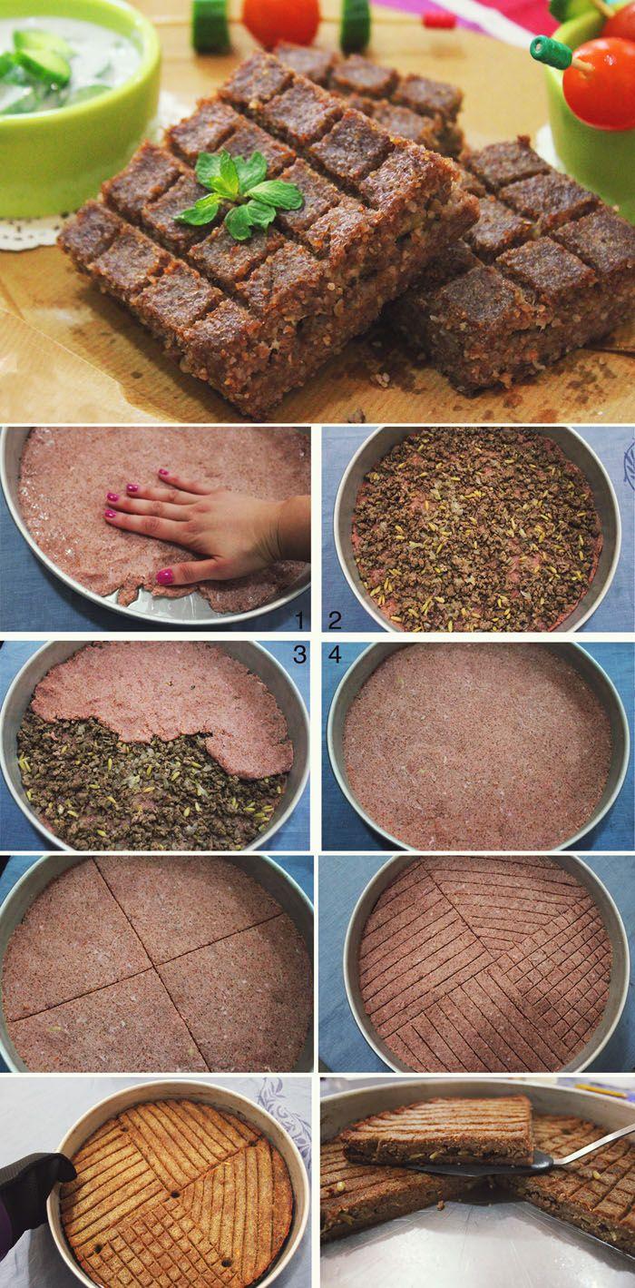 Kibbeh Pie with Minced Meat Stuffing   Kibbeh bil Saniyeh